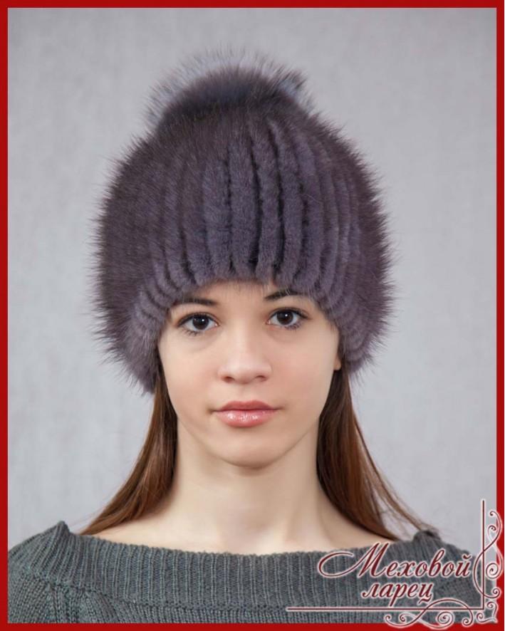 Вязаные шапки с мехом норки своими руками