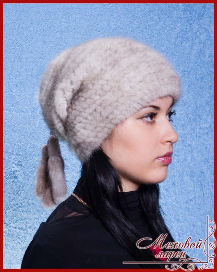 меховые вязанные шапки женские